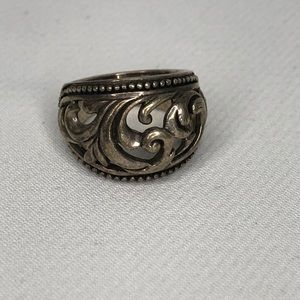 Barse Thailand 925 large scroll silver ring size 6